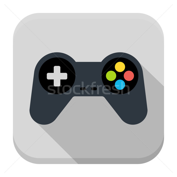 600x600 Game Controller Flat App Icon With Long Shadow Vector Illustration