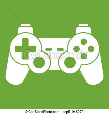 450x470 Game Controller Icon Green. Game Controller Icon White Isolated On