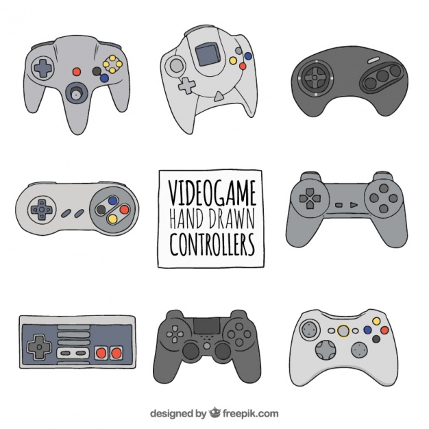 626x626 Set Of Hand Drawn Video Game Controllers Vector Free Download