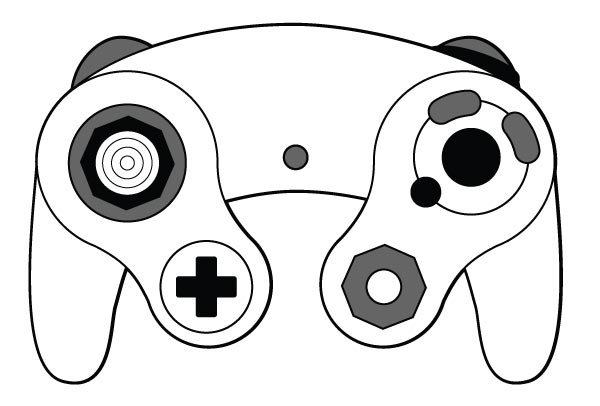600x406 Sixth Generation 4 Button 128 Bit Video Game Controller Vector