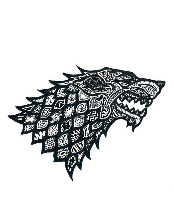 570x728 Floral Pattern Wolf Stark House Game Of Thrones Vector Svg Etsy
