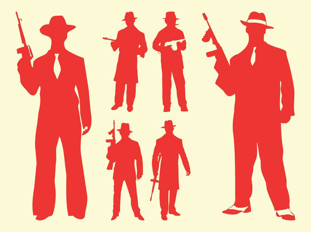 1024x765 Gangster Silhouettes Vector Art Amp Graphics