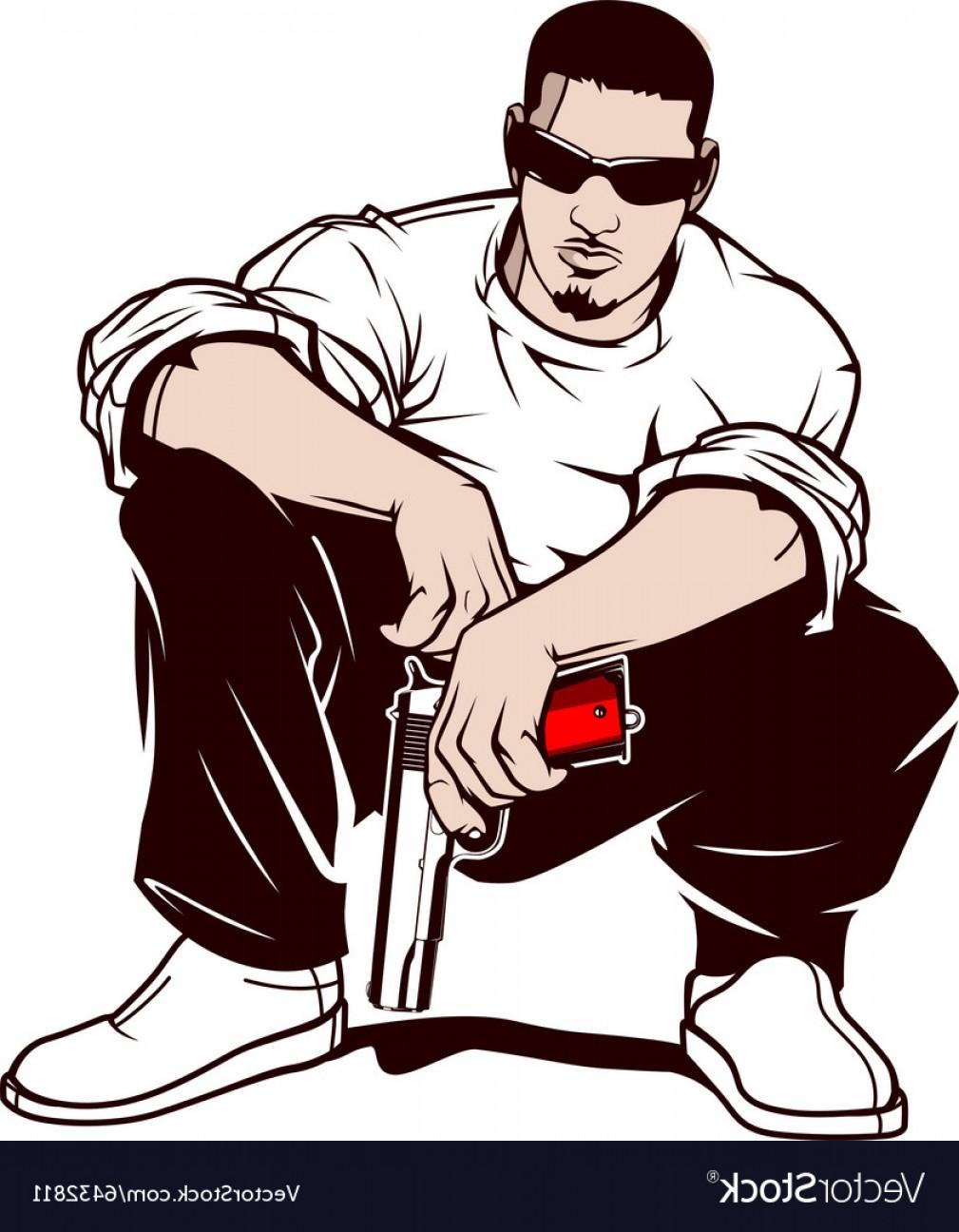 1009x1296 Gangster With A Gun Vector Shopatcloth