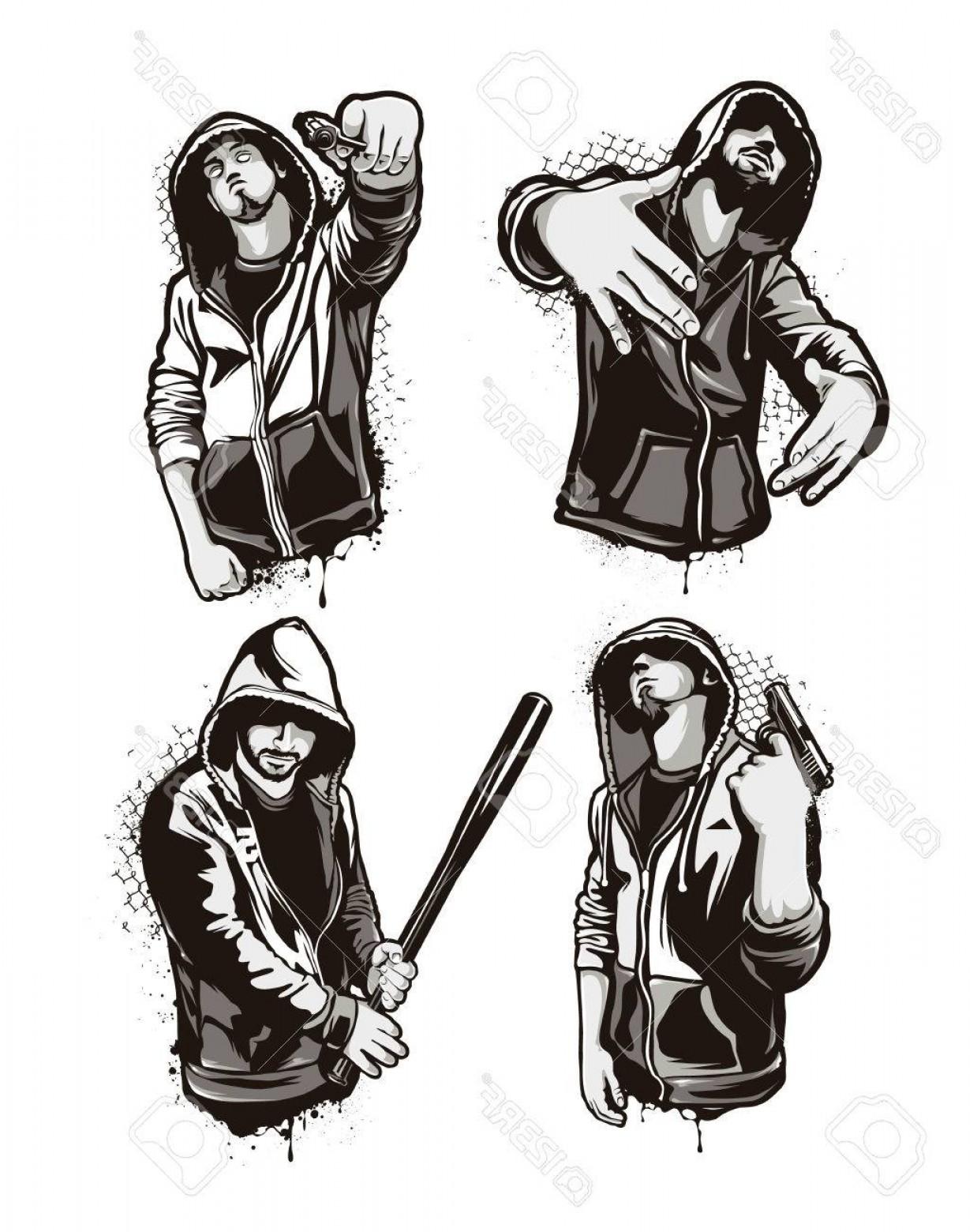 1238x1560 Photostock Vector Ghetto Warriors Set Of Four Vector Gangster