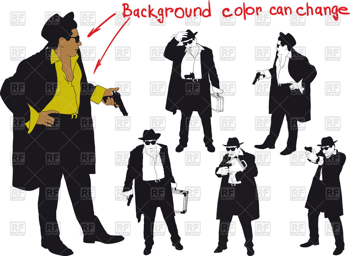 1200x878 Silhouette Of Man (Gangster) With Gun And And Hat Vector Image