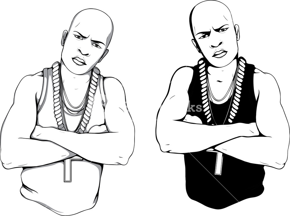 1000x745 Vector Gangster Silhouettes Royalty Free Stock Image