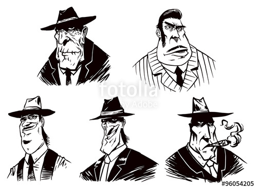 500x368 Vector Set Of Gangsters. Cartoon Image Of Five Gangster Of