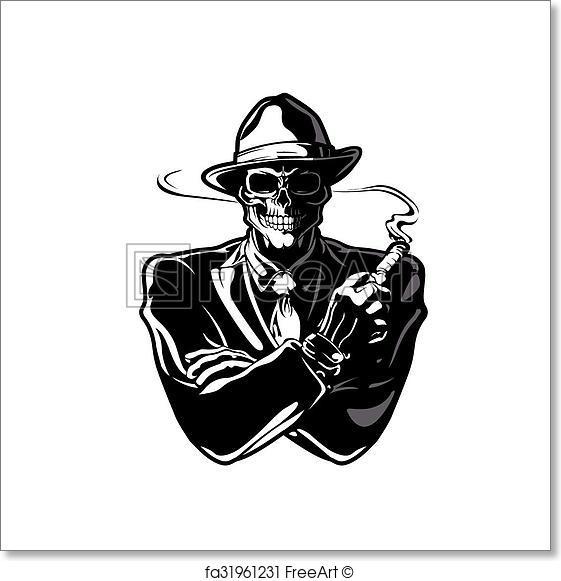 561x581 Free Art Print Of Gangster Skull.vector Design Eps 10 Freeart