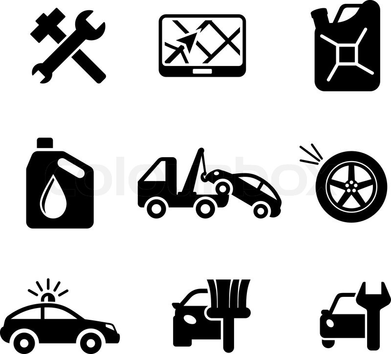 800x725 Set Of Car Service And Automobile Icons Including Tools, Road Sign