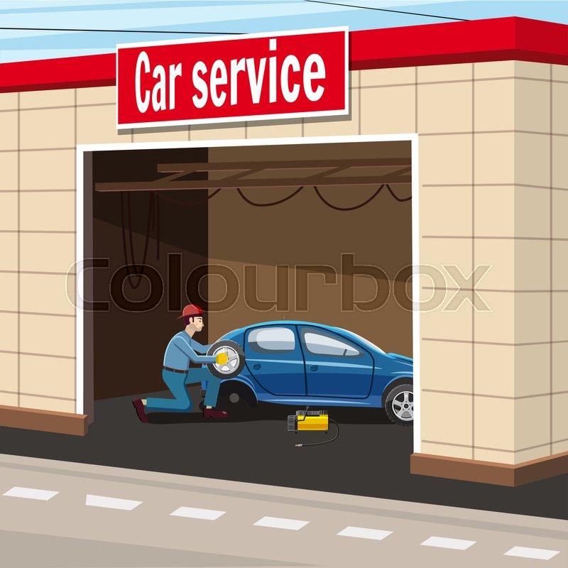 800x800 Car Service Garage Concept. Cartoon Illustration Of Car Service
