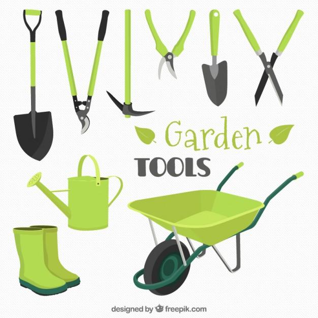 626x626 Collection Of Garden Tools In Green Color Vector Premium Download