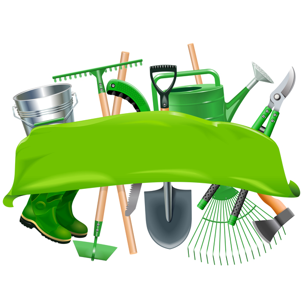 600x600 Green Banner With Garden Tools Vector Free Download