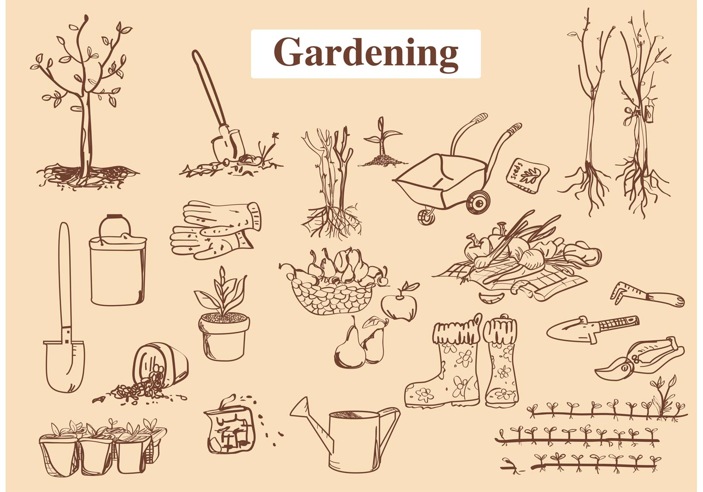 1400x980 Hand Drawn Garden Tool Vectors