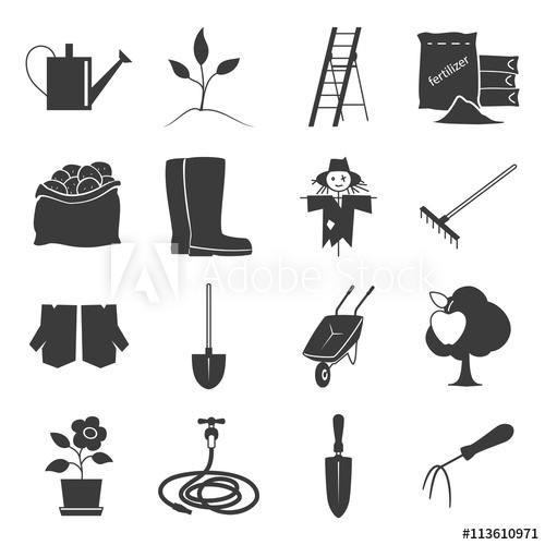500x500 Set Of Garden Tools, Icons Gardening Equipment , Silhouette