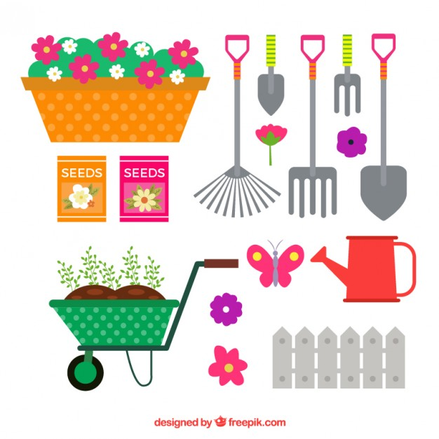 626x626 Set Of Flat Colored Gardening Tools Vector Free Download
