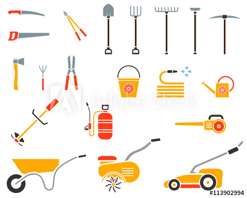 500x400 Set Of Garden Tool. Garden Tool Icon. Gardening Equipment