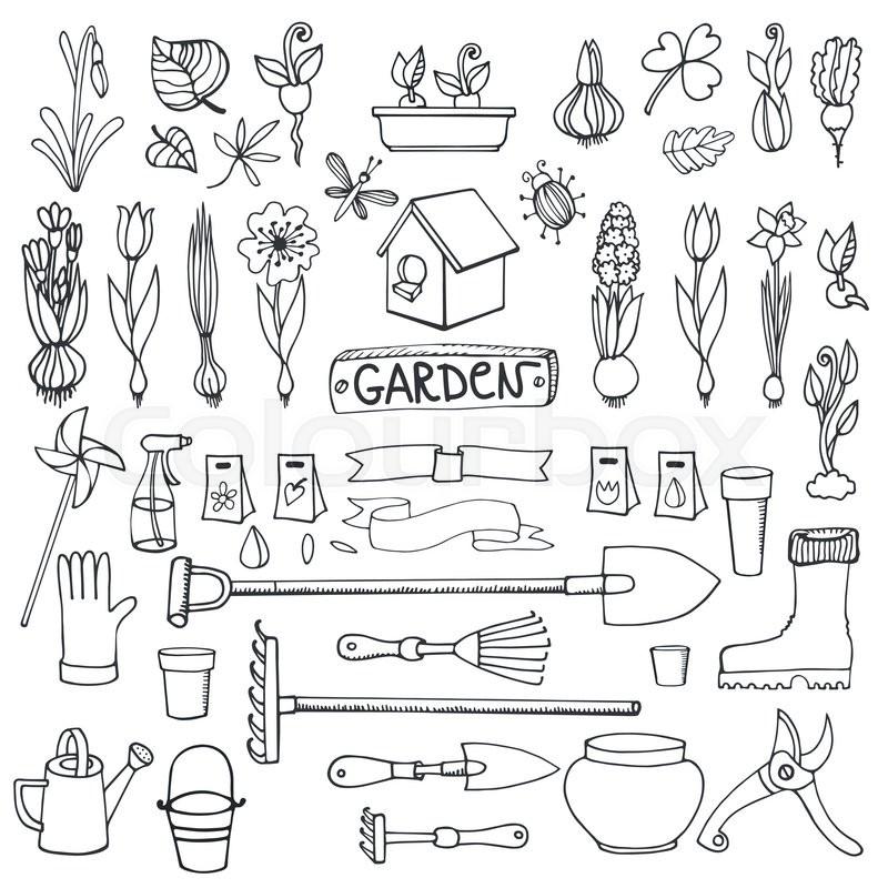800x800 Spring Garden Set.hand Drawn Flowers,bulb, Garden Tool,boarding