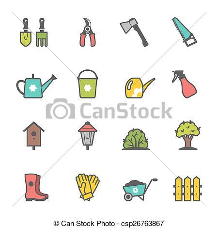 450x470 Vector Icon Set Of Garden Tools And Accessories Clip Art Vector