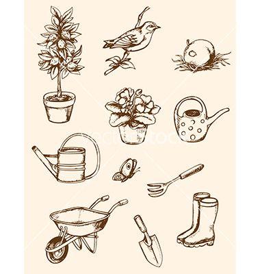 380x400 Vintage Hand Drawn Garden Tools Vector By Artspace On Vectorstock
