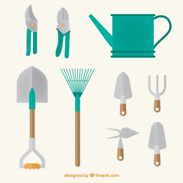 626x626 Watering Can And Garden Tools In Flat Design Vector Free Download