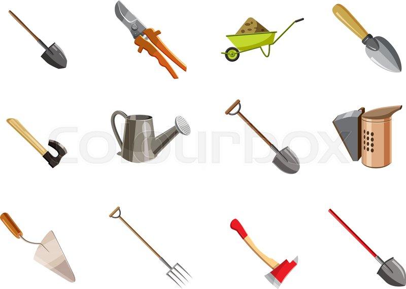 800x570 Garden Tools Icon Set. Cartoon Set Of Garden Tools Vector Icons
