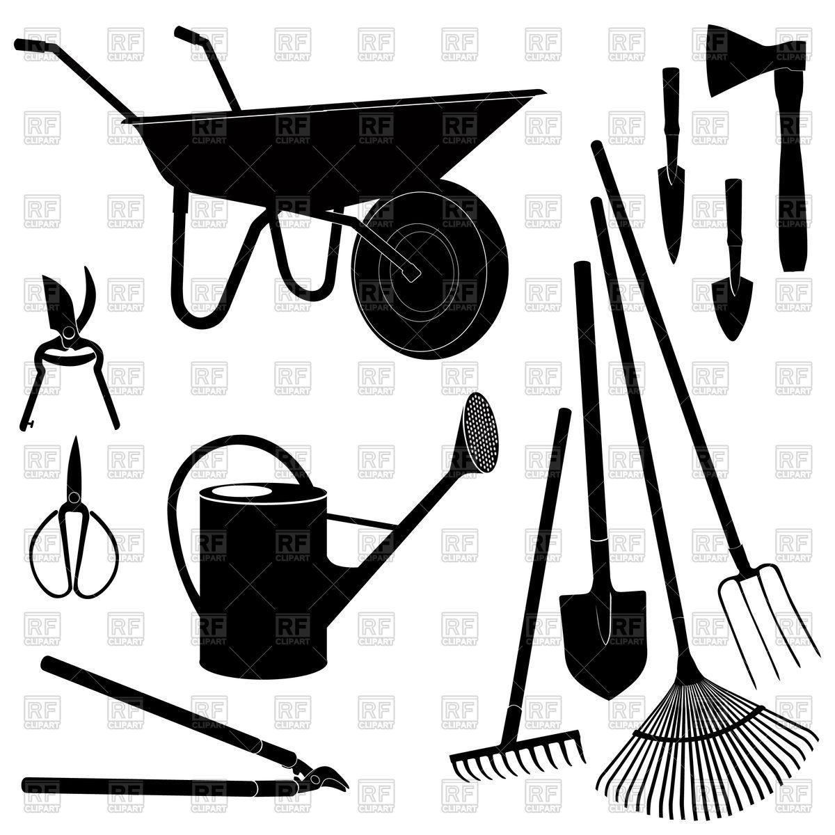 1200x1200 Garden Tools Or Garden Equipment Set With Watering Can, Rake