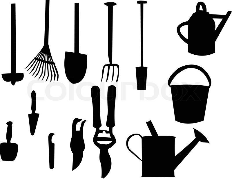 800x619 Garden Tools Silhouette