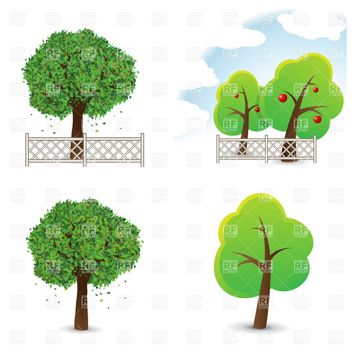 1200x1200 Garden And Symbolic Trees With Fence Vector Image Vector Artwork