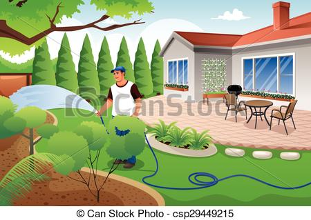 450x319 Man Watering His Grass And Garden. A Vector Illustration Of Man