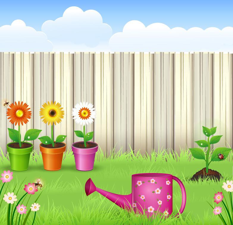 783x754 Cartoon Private Garden Vector [Ai]