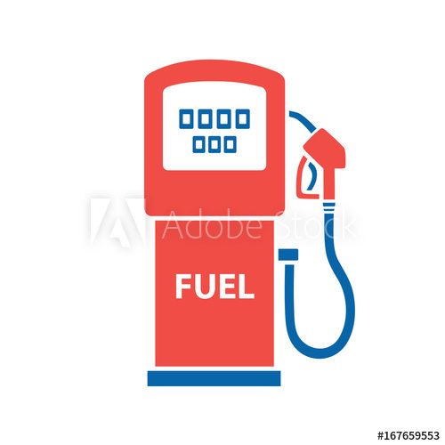 500x500 Gasoline Fuel Pump Vector Isolated. Gas Or Petrol Filling Station