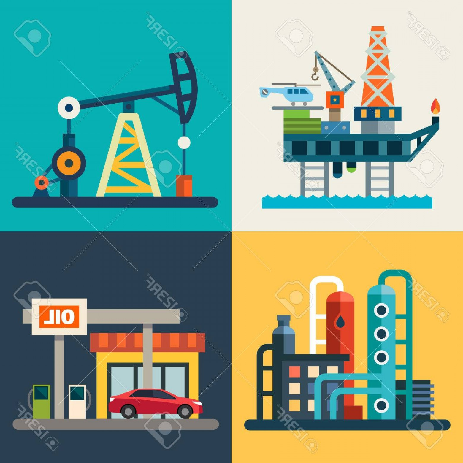 1560x1560 Photostock Vector Oil Recovery Oil Rig A Gas Station Vector Flat