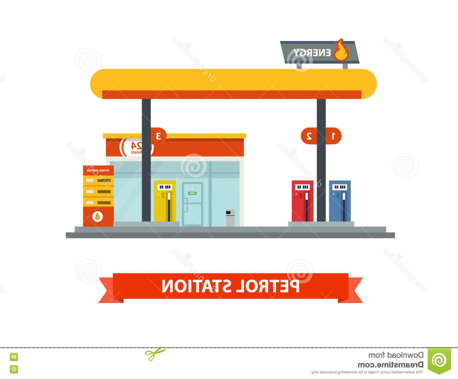 1560x1291 Stock Illustration Gas Station Vector Flat Illustration Energy Set