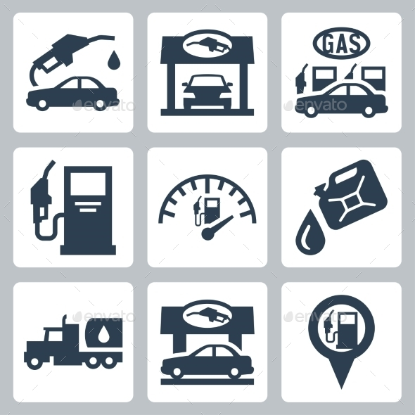 590x590 Vector Gas Station Icons Set By Greyj Graphicriver