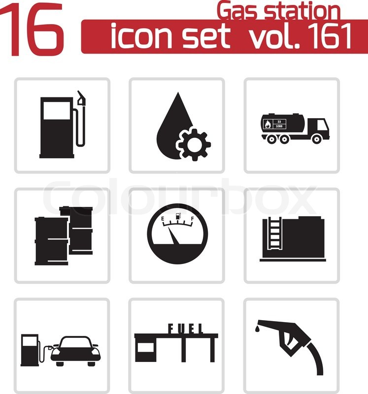 747x800 Vector Black Gas Station Icons Set Stock Vector Colourbox