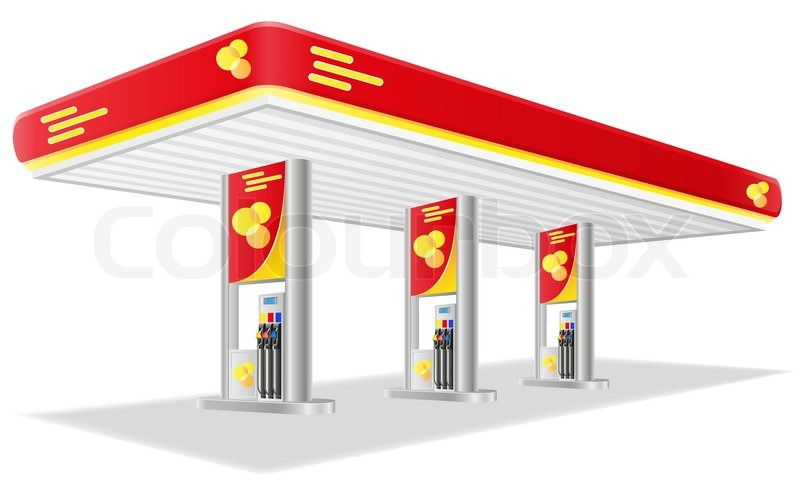 800x480 Car Petrol Station Vector Illustration Stock Vector Colourbox