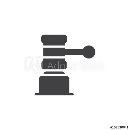 500x500 Judge Gavel Vector Icon. Filled Flat Sign For Mobile Concept And