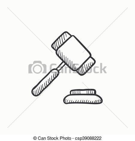 450x470 Auction Gavel Sketch Icon. Auction Gavel Vector Sketch Icon