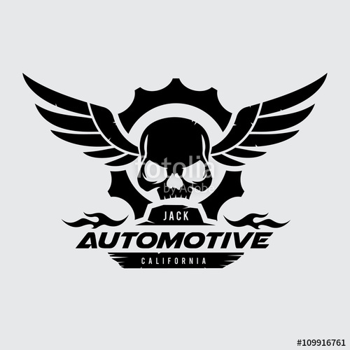 500x500 Automotive Logo, Skull Logo. Wing Logo. Gear Logo. Vector Logo