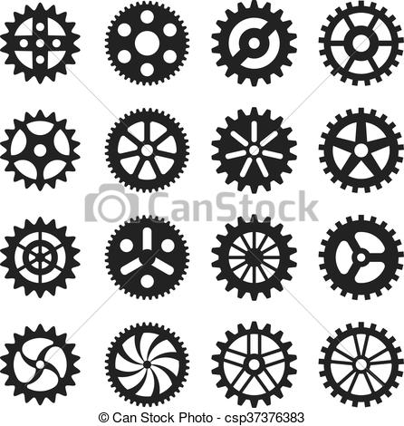446x470 Gear Wheels Vector Icons Set. Gear Wheel, Machine Gear Wheel