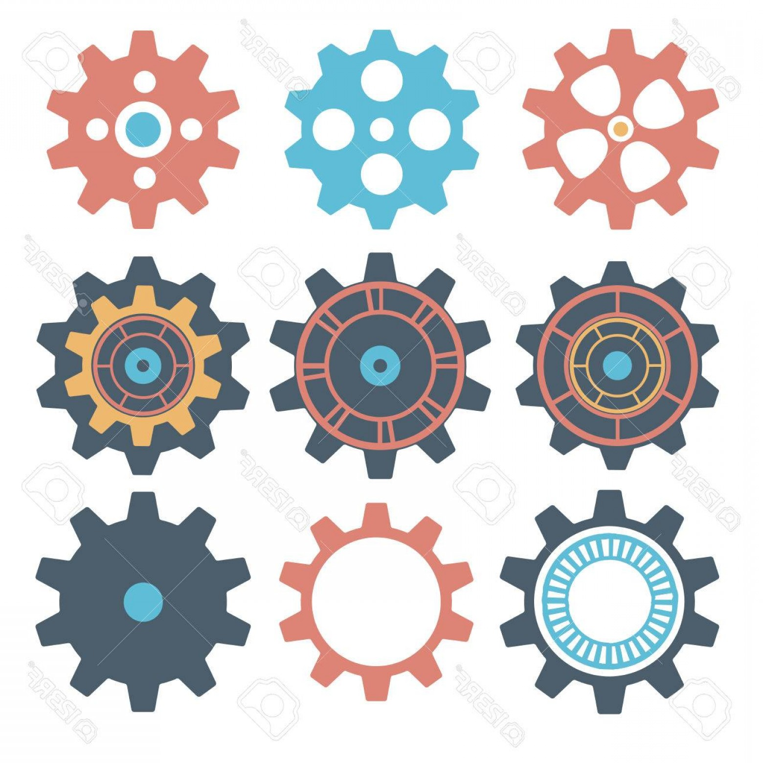 1560x1560 Photostock Vector Gear Collection Machine Gear Vector