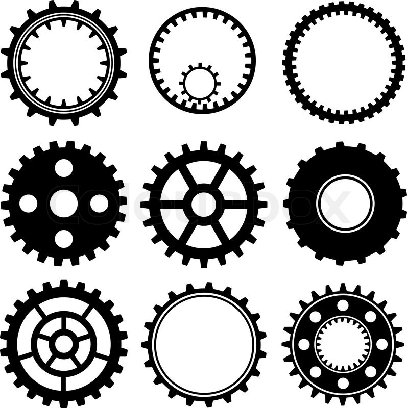 797x800 Set Of Industrial Gear Wheel Vector Stock Vector Colourbox