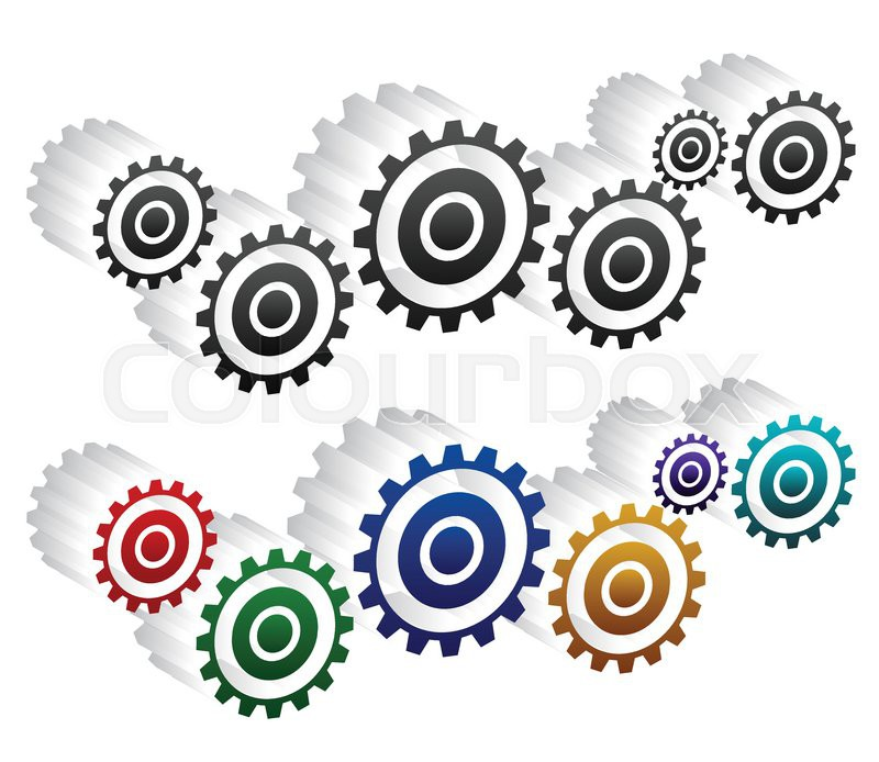 800x694 Various Gear Wheel, Rack Wheel Vector Graphics. Mechanics