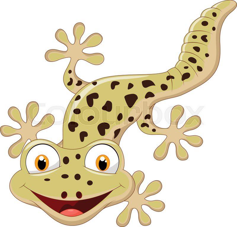 800x767 Vector Illustration Of Cartoon Smiling Gecko Stock Vector