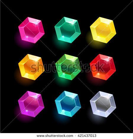 450x470 Set Of Cartoon Hexagon Different Color Crystals,gemstones,gems