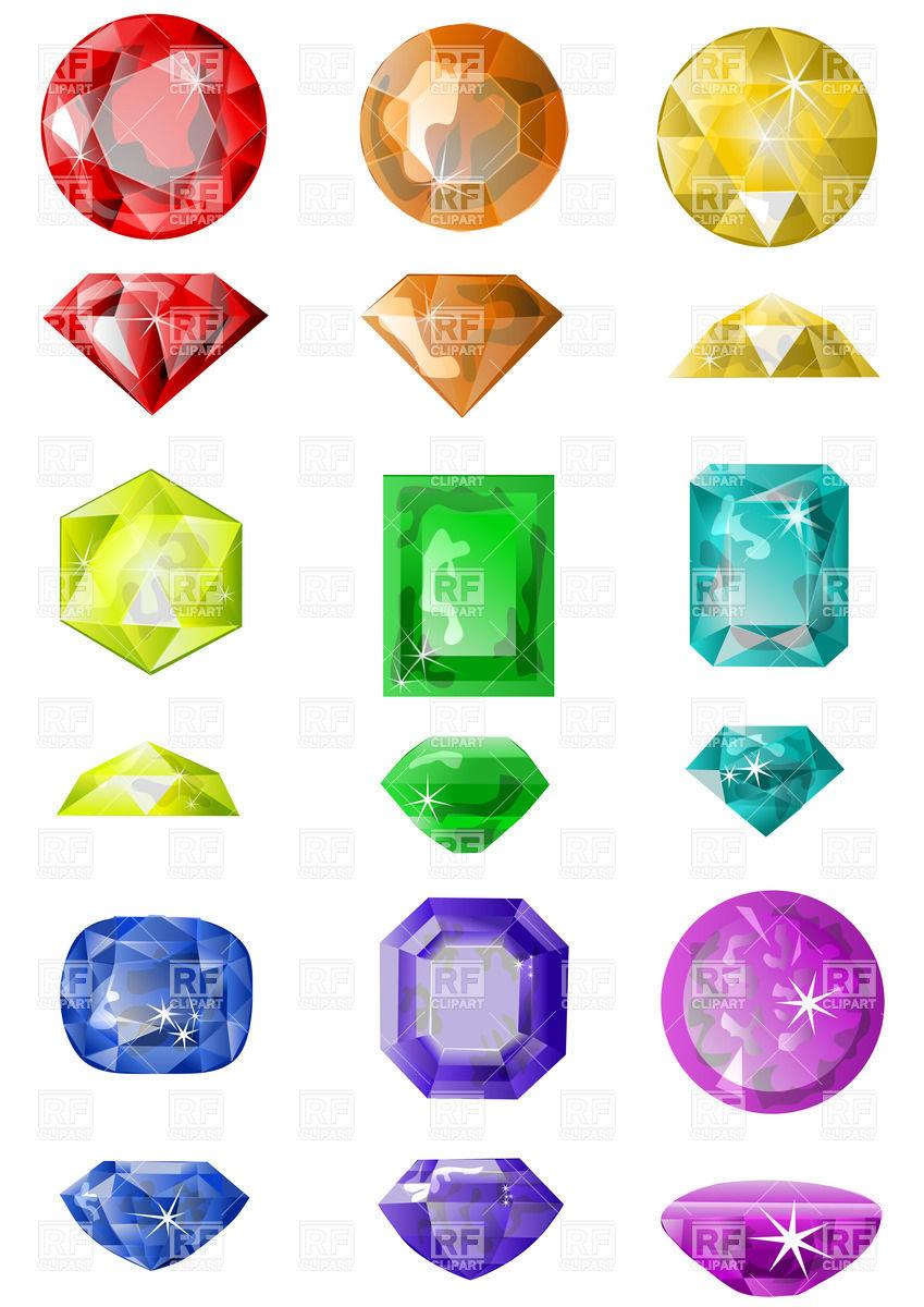 849x1200 Set Of Colorful Precious Stones Vector Image Vector Artwork Of