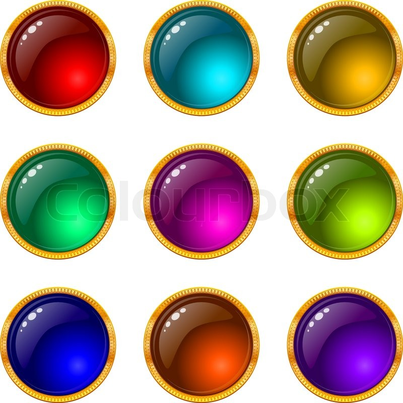 800x800 Set Of Web Buttons With Gems And Golden Frames Stock Vector