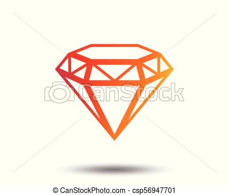 450x383 Diamond Sign Icon. Jewelry Symbol. Gem Stone. Blurred... Vector