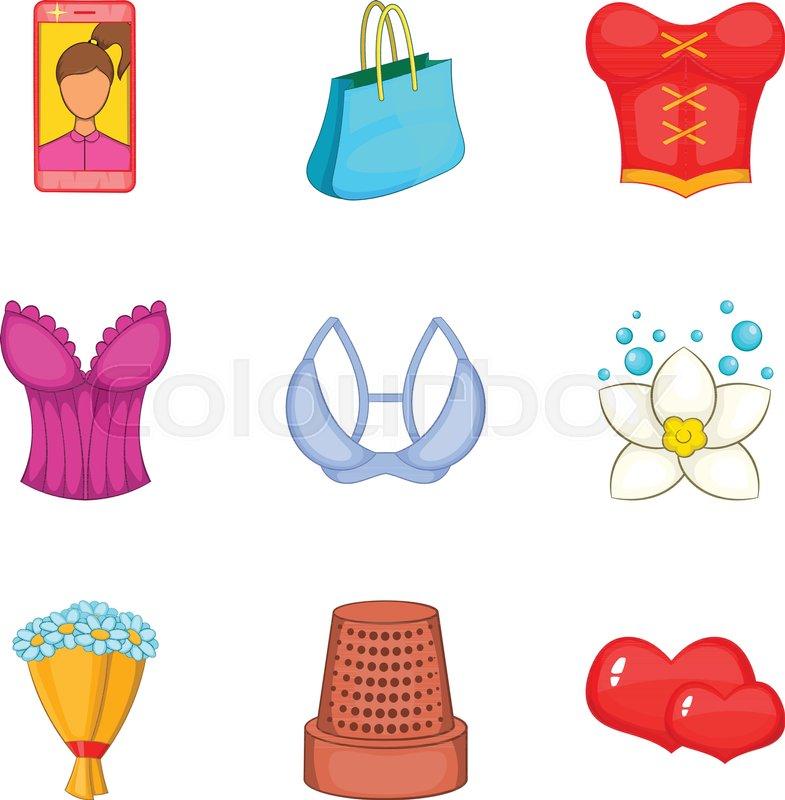 785x800 Feminine Gender Icons Set. Cartoon Set Of 9 Feminine Gender Vector