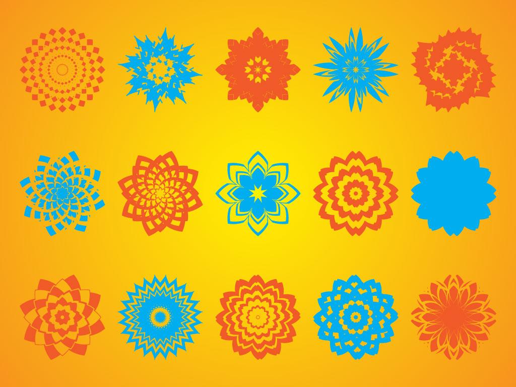 1024x768 Geometric Flower Shapes